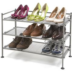 Organize your shoe collection with this handy utility shoe rack from Seville. The three-tier rack has an iron frame for stability and durability. When not in use, simply remove the mesh panels and fold up the frame for easy storage.