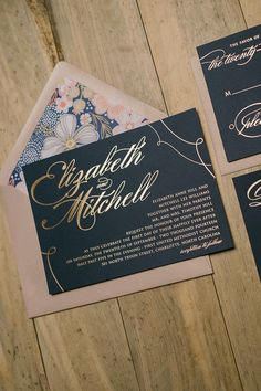 Rose Gold Foil Wedding Invitations, Navy and Rose Gold, Floral, Just Invite Me