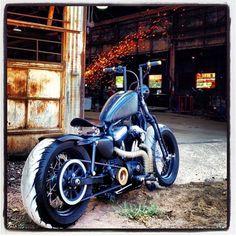 #harley #bobber #bobberporn #bobbernation #sportster #sporty #springer #200front #200rear  #widetires #blackandgold #custombuilt #enviedcycles #bmf by enviedcycles