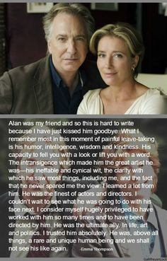 Emma Thompson's tribute to Alan Rickman