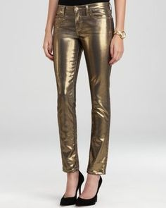 kate spade new york Broome Street Metallic Jeans Women - Jeans & Denim - Bloomingdale's Metallic Jeans, Gold Jeans, Denim Jeans, Pants For Women, Jeans Women, Dress To Impress, Autumn Fashion, Kate Spade, Stylish