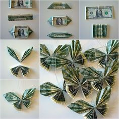 DIY Dollar Bill Butterfly I came across a post of making dollar bi. - DIY Dollar Bill Butterfly I came across a post of making dollar bill butterflies, the - Money Bouquet, Origami Money Flowers, Money Origami, Origami Paper, Diy Money Lei, Origami Boxes, Origami Folding, Oragami, Christmas Wrapping