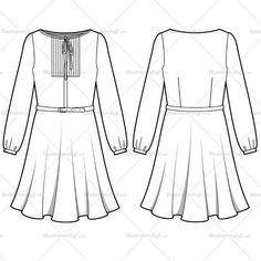 Women's Pleated Shirt Dress Fashion Flat Template