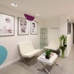Toni and Guy, Eden skin clinic reception, nikkirees.com Beauty salon, skin clinic, Interior designer London