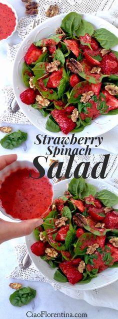 Strawberry Spinach Salad Recipe with Lemon Poppyseed Dressing | 🍓 🍋 | CiaoFlorentina.com @CiaoFlorentina