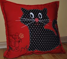funny cat and mouse handmade pillow case