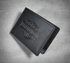 Harley Davidson Mens Winger #1 Logo with Wings Black Leather Bifold Wallet