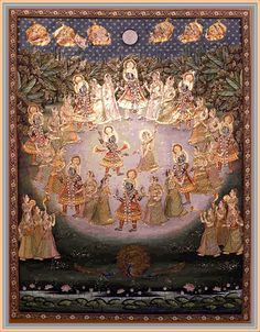 Rasa-lila. dance with the gopîs positioned in a circle. Krishna, the Controller of the Mystic Union, always keeping Himself situated between two of them, held His arms around the necks of the women next to Him. At that moment the sky was crowded by hundreds of celestial carriers belonging to the denizens of heaven with their wives whose minds were carried away by curiosity.