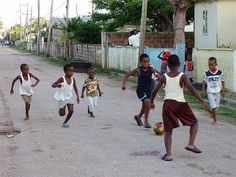 Children playing in the street in Jamaica