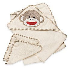 image of Baby Starters® Sock Monkey Towel & Washcloth Set in Cream