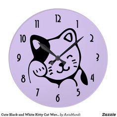 Cute Black and White Kitty Cat Waving Hello