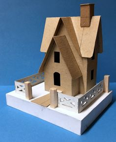 """View topic - Howard builds Lucy's """"Christmas Farmhouse""""… Putz Houses, Bird Houses, Christmas Home, Christmas Crafts, House Template, Small Porches, Fairy Jars, Wood Post, Glitter Houses"""