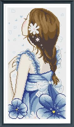 Modern Asian Girl 21785J Modern Cross Stitch Pattern PDF Download - Includes Chart And Instructions by AprilBeeShop on Etsy