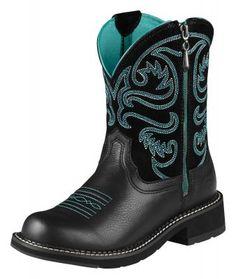 Womens Ariat Fatbaby Boots Black #10008741 via @Allens Boots