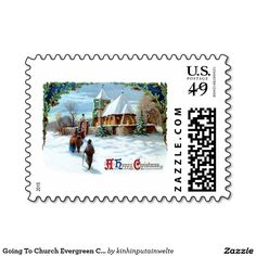 Going To Church Evergreen Christmas Tree Postage Stamp