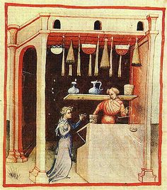 Buying sugar: The Tacuinum of Vienna - late 14th or early 15th century