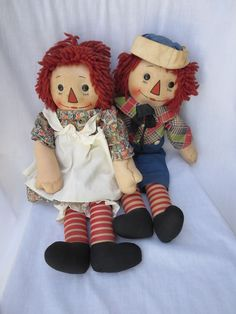 """Vintage 1940's Georgene 18"""" Raggedy Ann & Andy Dolls Outlined Nose Orig. Clothes"""