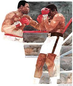 Bart Forbes illustration, Holmes vs. Ali for SI, Sept. 1980.