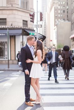 Engaged in the Streets of New York Couple Photograph by Jessica Haley