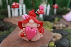 Polymer Clay Valentine Baby Gnome - Miniature Baby Gnome - Mini Clay Baby Gnome…