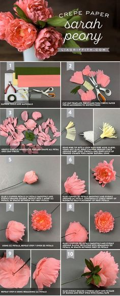 cool Download our template and follow our photo tutorial to make crepe paper peonies....