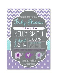 **This is a digital invitation. Not a printed invitation**    Adorable Baby shower invitation!! Purple and Grey with pops of teal make a perfect