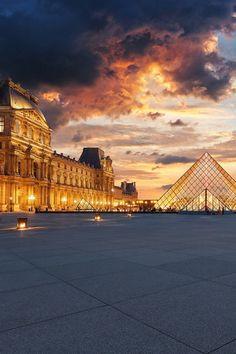 The Louvre at sunset, Paris