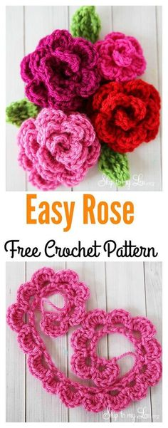 Crochet Easy Rose Free Pattern Crochet Roses, Free Crochet Rose Pattern, Easy Crochet Flower, Free Crochet Patterns For Beginners, Free Easy Crochet Patterns, Crochet Wreath, Crochet Stitches Free, Free Applique Patterns, Rosas Crochet