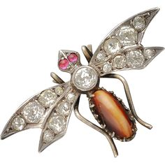 Antique Victorian Tiger's Eye & Paste Bug or Insect Brooch #VintageJewelry #rubylane