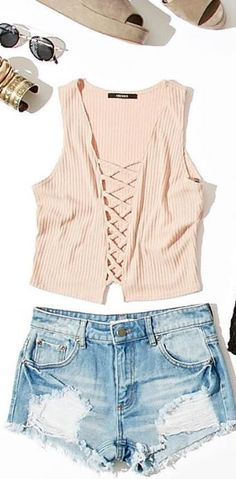 Strappy Ribbed Crop Top - Trendslove