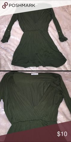 NWOT Olive romper Never worn!! 3/4 sleeves. Low cut front Charlotte Russe Pants Jumpsuits & Rompers