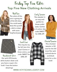 Five Top Five: New Clothing Arrivals | Hey Its Camille Grey #fallfashion #sweaters #cardigans #coats #skirts #fashion