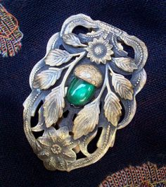 Vintage Brass Emerald Green Acorn Dress Clip