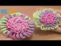 ▶ Crochet Flower Ruffled Center How to Tutorial 52 Single Crochet Trim - YouTube