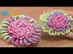 Crochet Flower Ruffled Center How to Tutorial 52 Single Crochet Trim - YouTube