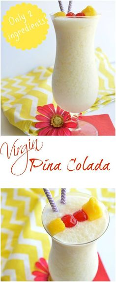 Virgin (non-alcoholic) Pina Coladas Frozen Drinks Recipe via House of Yumm - Yummy summertime refresher! This Virgin Pina Colada is only 2 ingredients.plus ice! The BEST Easy Non-Alcoholic Drinks Recipes - Creative Mocktails and Family Friendly, Alcohol- Virgin Pina Colada, Virgin Margarita, Refreshing Drinks, Fun Drinks, Healthy Drinks, Non Alcoholic Drinks Easy, Healthy Food, Pool Drinks, Healthy Recipes