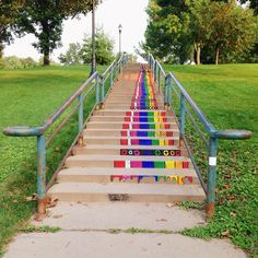 """""""Rainbow Road"""" is a new mural painted on the steps of College Green Park near downtown Iowa City by University of Iowa student Aurora Green. Can anyone say Stairway to Heaven?"""