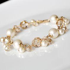Gold Pearl Bracelet, Golden Crystal Bracelet, Fall Wedding Jewelry, Ivory Pearl Wedding Bracelet, Bridal Bracelet, Bridesmaid Bracelet. $80.00, via Etsy.