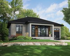 DuProprio invites you to discover your future Bungalow located in Mont-St-Gregoire, rue Marcel-Arbour - Par Habitations Clermont. Small Contemporary House Plans, Modern House Plans, Architectural Design House Plans, Architecture Design, One Storey House, Prairie Style Houses, Open Concept Home, Bungalows For Sale, Bungalow House Design