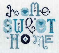 Home Sweet Home, Blue, counted cross stitch PDF file pattern. £5,50, via Etsy.
