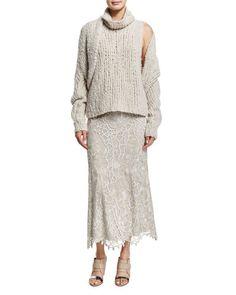 -67YS Donna Karan  Slim-Fit Lace Combo Midi Skirt, Natural