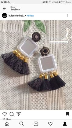 As you go on your jewelry making journey, you'll discover that you will often come across wires. Jewelry makers, the imaginative lot, have found lots of ways to incorporate them in pieces in numerous methods. Fabric Earrings, Fabric Jewelry, Diy Earrings, Earrings Handmade, Beaded Jewelry, Fancy Jewellery, Thread Jewellery, Stylish Jewelry, Fashion Jewelry