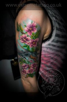Cherry blossom colour tattoo sleeve in progress,Gabi Tomescu.Extreme tattoo&piercing. Fort William.Highland.Realistic tattoo, Black and grey tattoo, Japanese tattoo, Traditional tattoo, Floral tattoo, Chinese tattoo, Fine line art tattoo, Old school tattoo, Tribal Tattoo, Maori tattoo, Religious tattoo, Pin-up tattoo, Celtic tattoo, New school tattoo, Oriental tattoo, Biomechanical tattoo