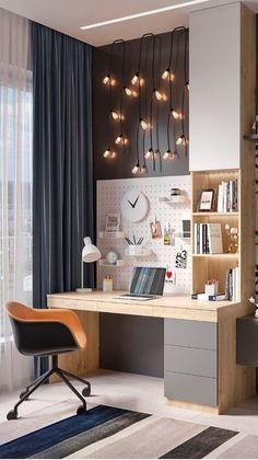 Study Room Design, Study Room Decor, Room Design Bedroom, Room Ideas Bedroom, Home Room Design, Home Office Design, Home Decor Bedroom, Home Interior Design, Home Office Bedroom