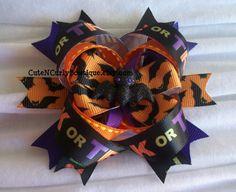 Halloween Bat Hair bow Girls Purple Orange by CuteNCurlyBowtique, $7.95