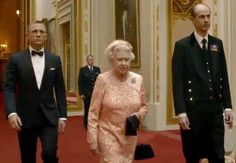 "Opening Ceremony of the London Olympics when Her Majesty was accompanied by ""James Bond"" ie Daniel Craig as they went to catch a Helicopter from which Her Majesty parachuted from into the Olympic Park! A stunt set up by Prince Harry!!!"