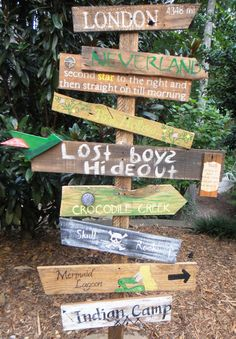 Customized Directional Sign Wooden Mile Marker Peter Pan Neverland