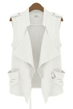 Beige Stand Collar Sleeveless Epaulet Jacket - Sheinside.com