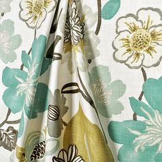 Kravet Jellybean Fabric: ~$45/yard, aqua/teal/mint/ochre/brown grey.