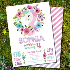 Unicorn Party Invitation - Glitter Unicorn Invitation from SunshineParties Unicorn Party Invites, Unicorn Birthday Parties, Birthday Party Decorations, Birthday Party Invitations, Horse Birthday, Party Fiesta, Party Activities, Floral Invitation, Invitation Text